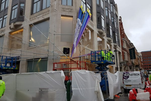 Masons Scaffolding Louis Vuitton display New Bond Street